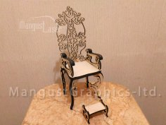 Laser Cut Throne Chair CNC Template Free Vector