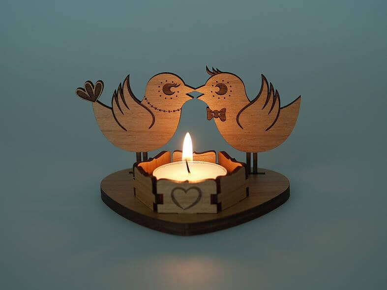 Laser Cut Wooden Tea Light Candle Holder PDF File