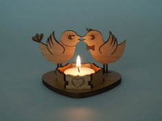 Laser Cut Wooden Tea Light Candle Holder PDF File