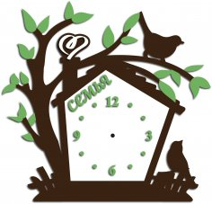 Laser Cut Tree with Birds Clock Template Free Vector