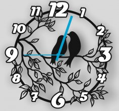 Laser Cut Floral Bird Clock Free Vector