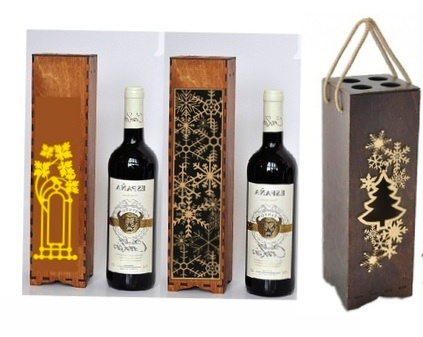 Laser Cut Wine Gift Box Free Vector