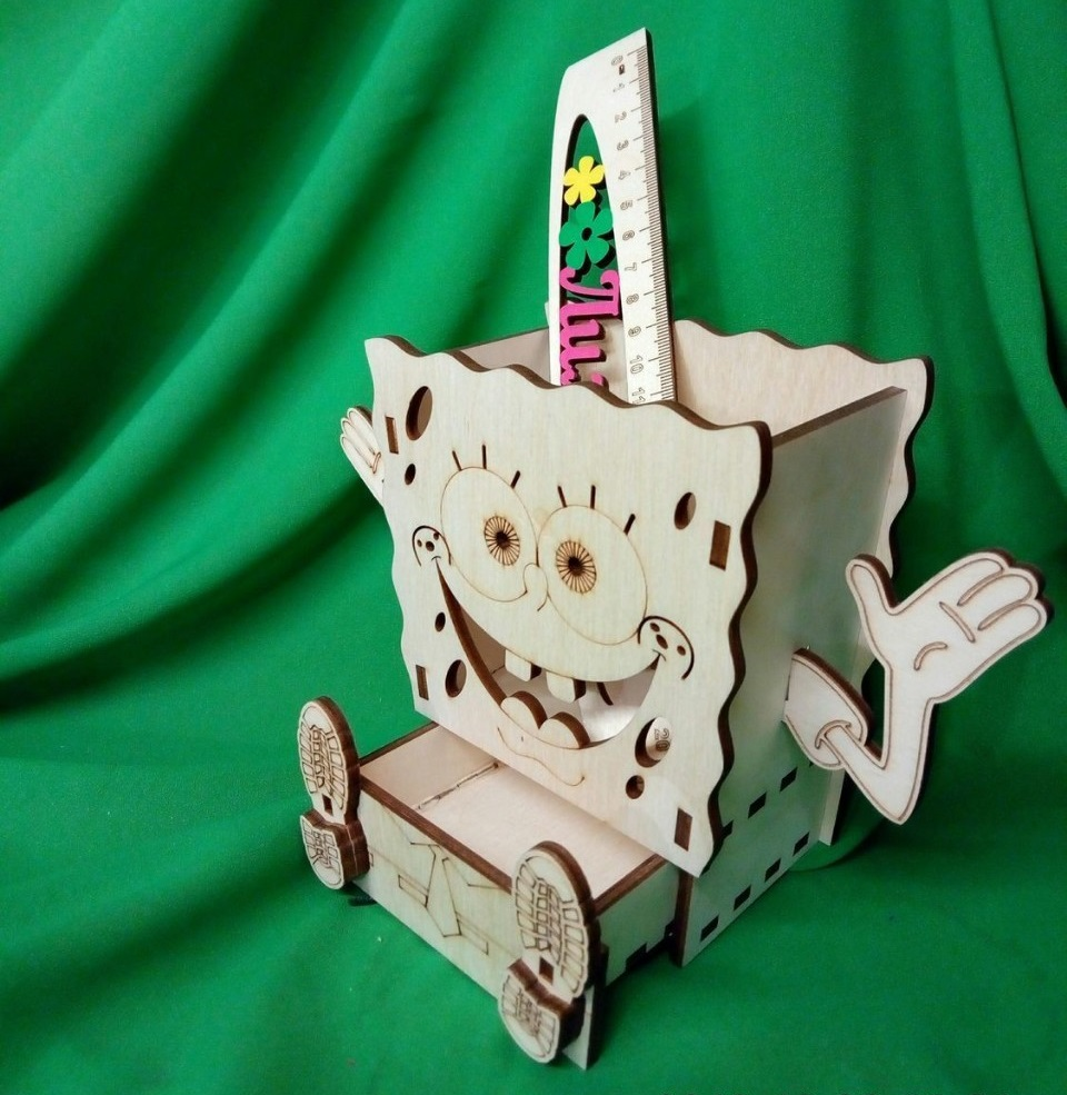 Laser Cut SpongeBob Desk Organizer Pencil Holder Free Vector
