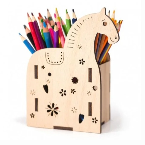 Laser Cut Horse Desk Organizer Pencil Holder Free Vector