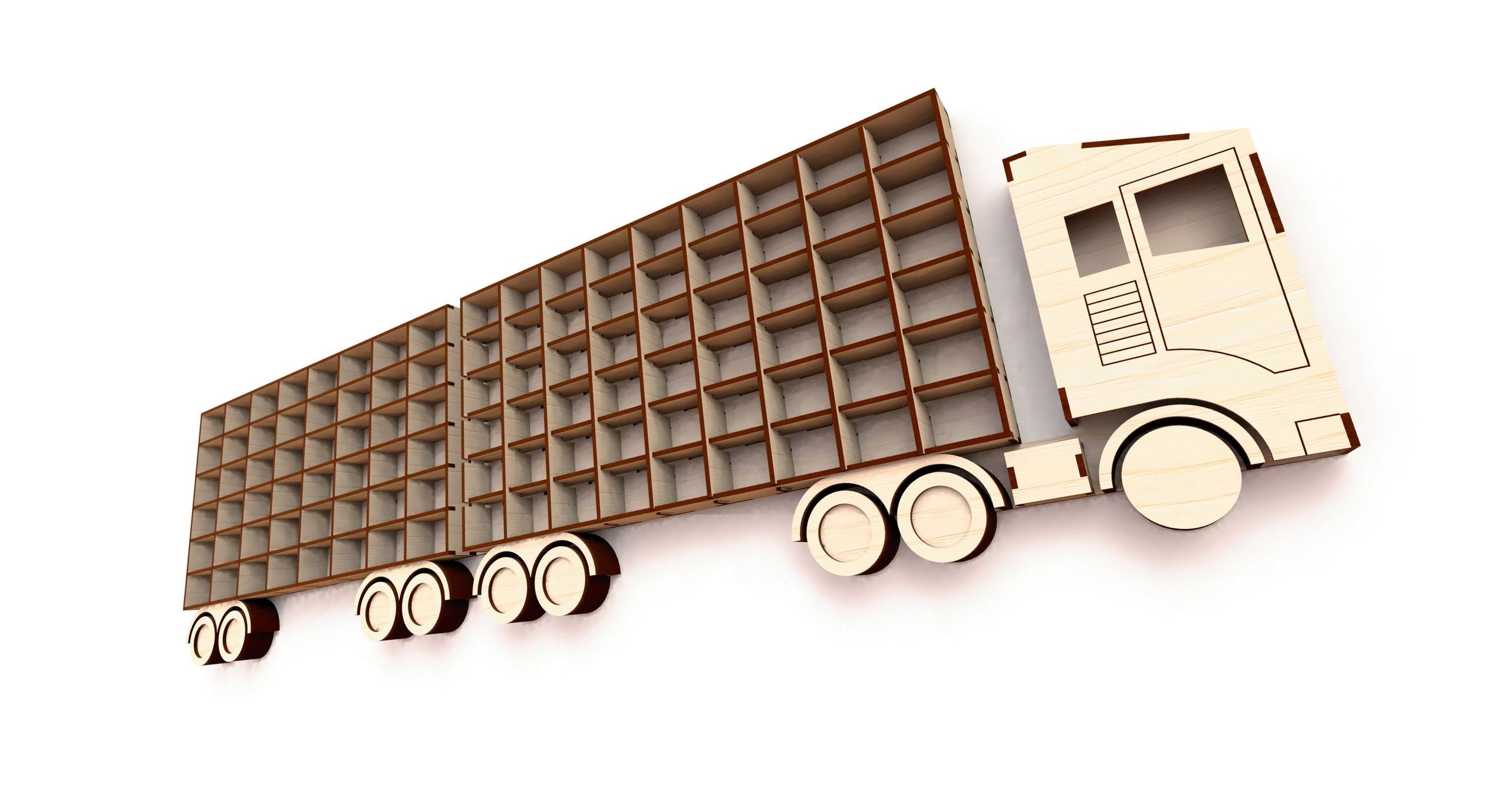 Laser Cut Shelf Truck with Trailer Free Vector