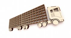 Laser Cut Shelf Truck with Trailer Free Vector