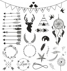 Indians Decoration Set Free Vector