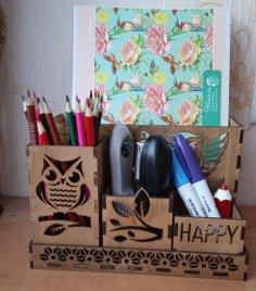 Laser Cut Owl Wooden Desk Organizer Free Vector