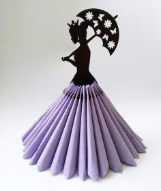 Laser Cut Umbrella Lady Wooden Paper Napkin Holder Free Vector