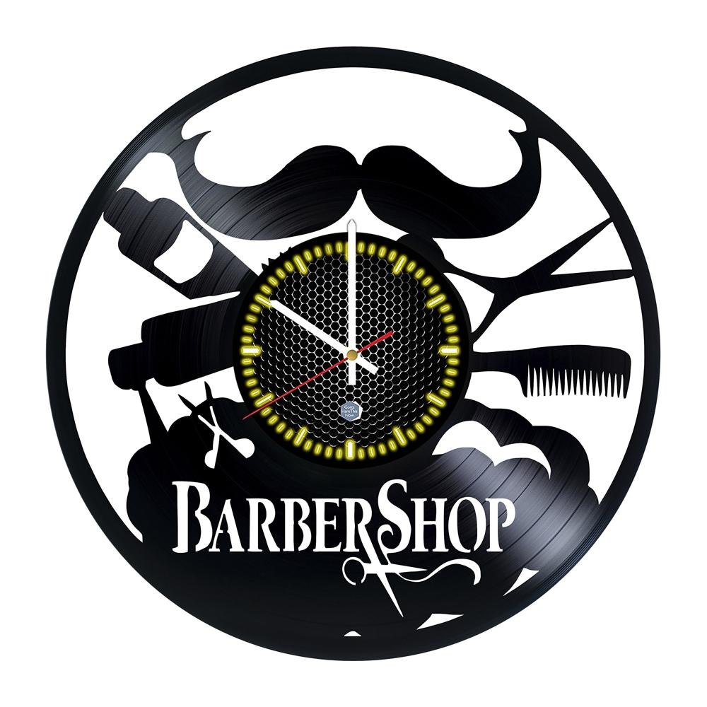 Laser Cut Vintage Barber Shop Decor Vinyl Record Wall Clock Free Vector
