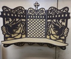 Laser Cut Iconostasis Wooden Shelf For Icons Free Vector