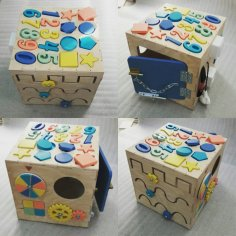 Laser Cut Busy Cube Activity Toy For Kids Free Vector