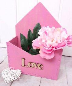 Laser Cut Envelope Flower Box Free Vector