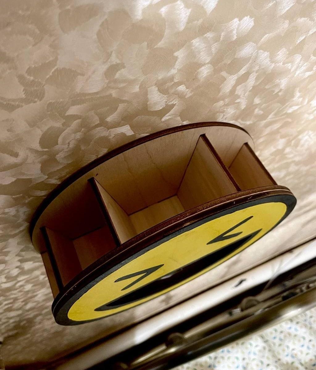Laser Cut Cute Smiley Wall-Mounted Storage Shelf Free Vector