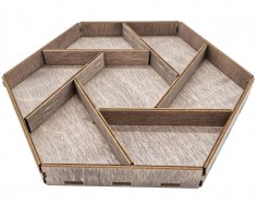 Laser Cut Wooden Hexagon Serving Tray With Unique Designed Compartments Free Vector