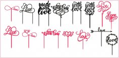 Laser Cut Love Cake Toppers Free Vector