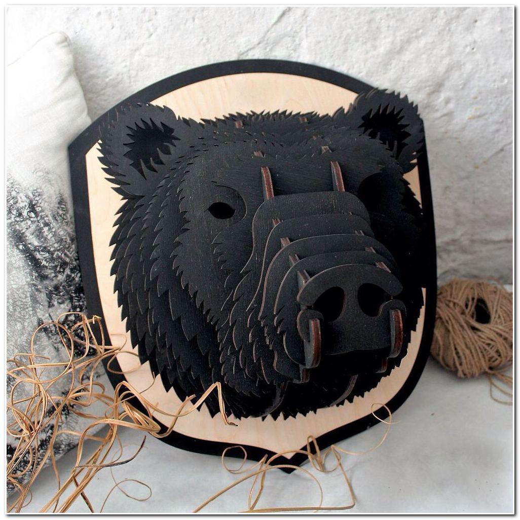 Laser Cut Bear Head Animal Trophy Wall Art Free Vector