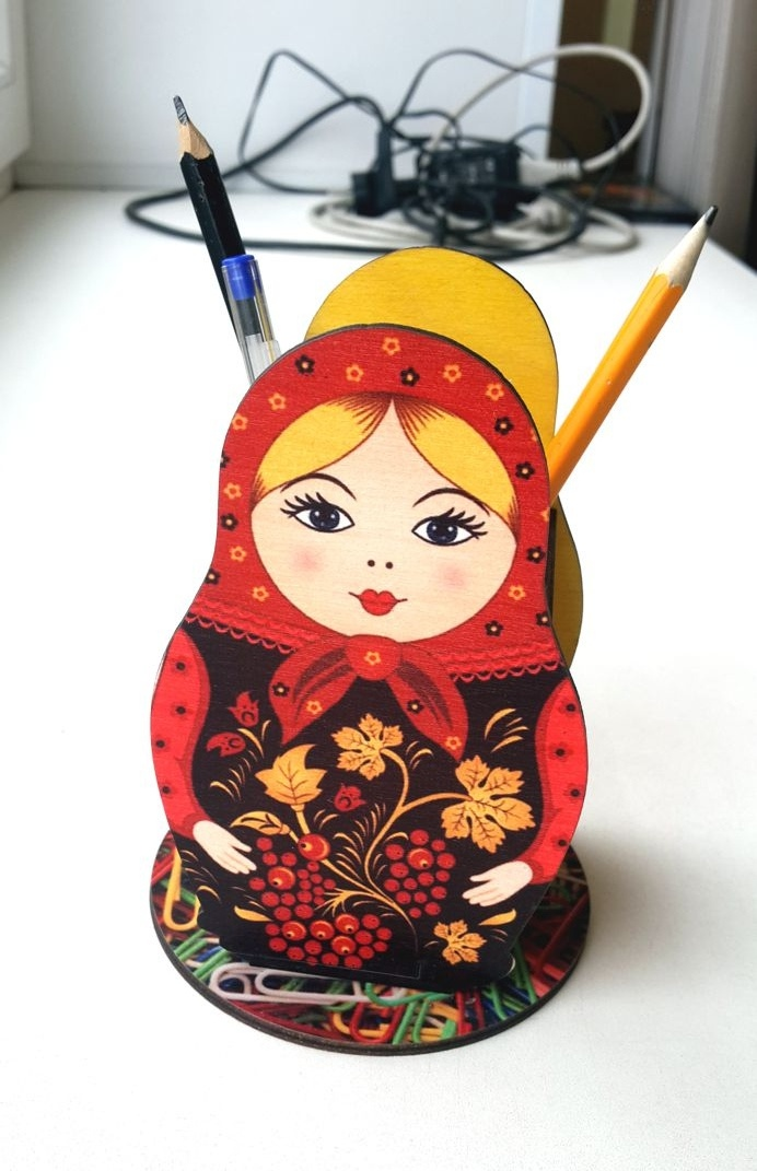 Laser Cut Colorful Russian Nesting Dolls Pencil Holder Free Vector