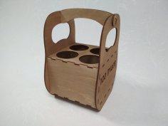 Laser Cut Wooden Beer Caddy Free Vector