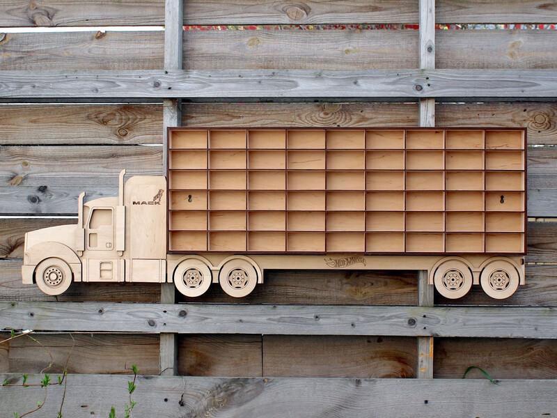 Laser Cut Hot Wheels Car Storage Truck Free Vector