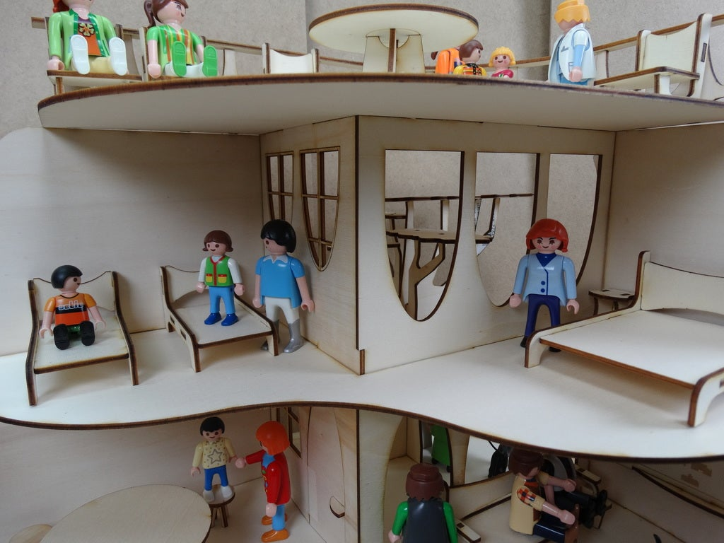 Laser Cut Modern House Wooden Doll House 3mm Toys For Children DXF File