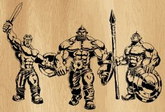 Laser Cut Three Heroes Wall Art Decor Free Vector