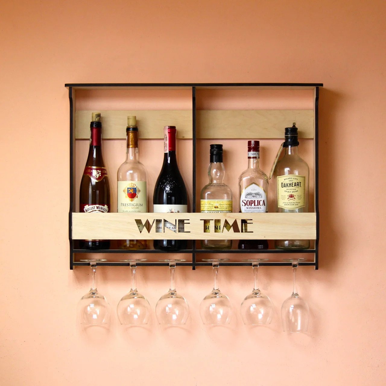 Laser Cut Wall Mounted Wine Rack Mini Bar Liquor Cabinet Minibar For 6 Bottles And Glasses Free Vector