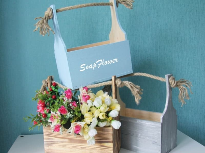 Laser Cut Wooden Flower Boxes Basket For Flowers Free Vector