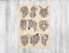 Laser Engraving Boho Animals Free Vector