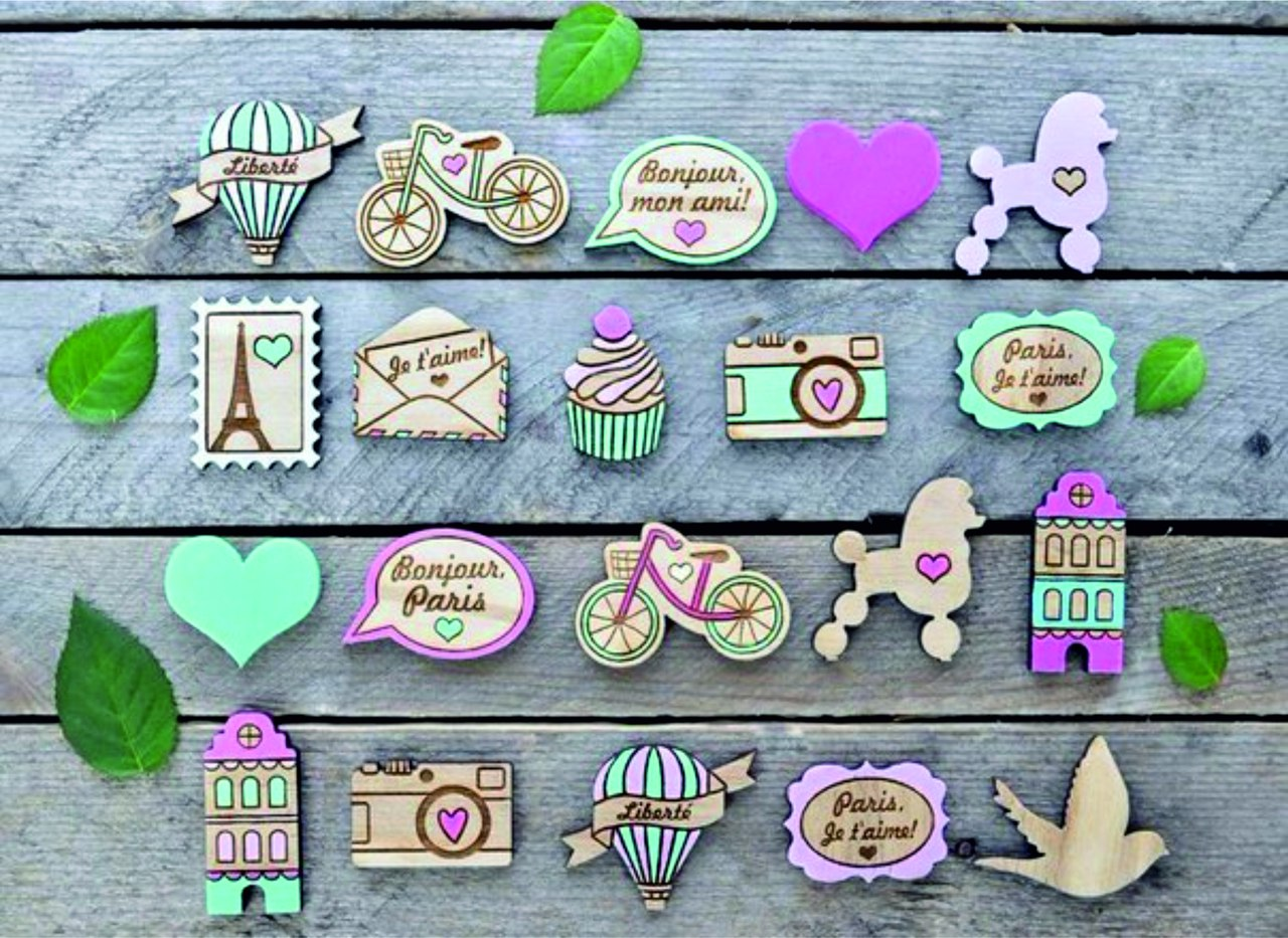 Laser Cut Engraved Wooden Magnets Brooches Free Vector