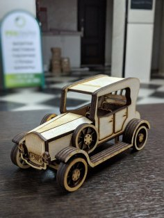 Laser Cut Vintage Wooden Classic Car Vehicle Free Vector