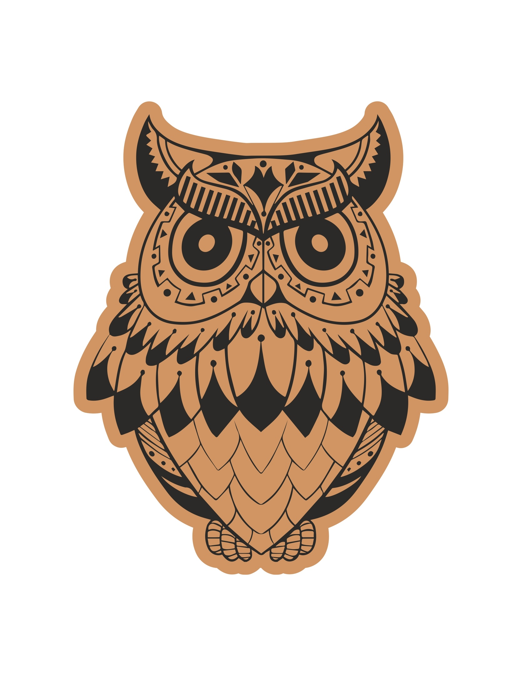 Angry Owl Laser Cut Engraving Template Free Vector