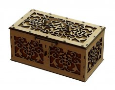 Laser Cut Decorative Box With Handle And Lock Free Vector