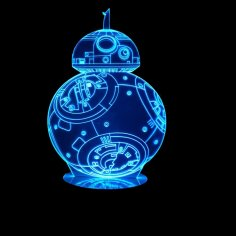 3D Hologram BB8 Robot LED Lamp CDR File