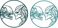 Alien vs Predator Sticker Free Vector