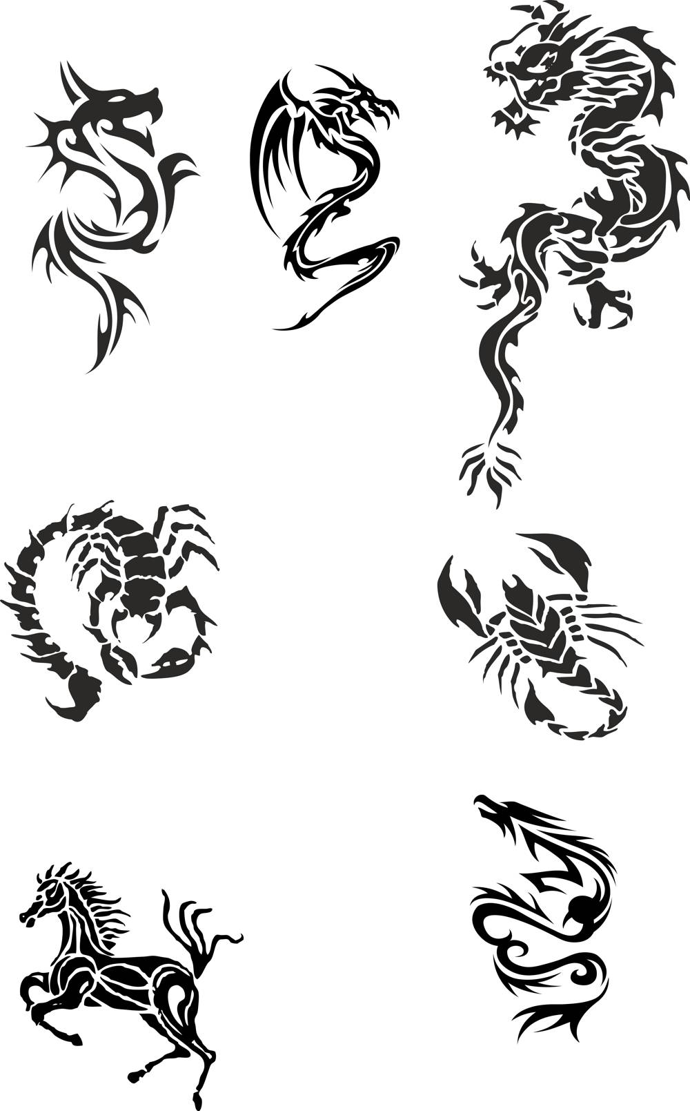 Tribal Dragon Tattoo Designs Vector Pack CDR File