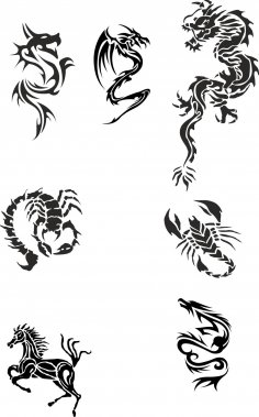 Tribal Dragon Tattoo Designs Vector Pack Free Vector