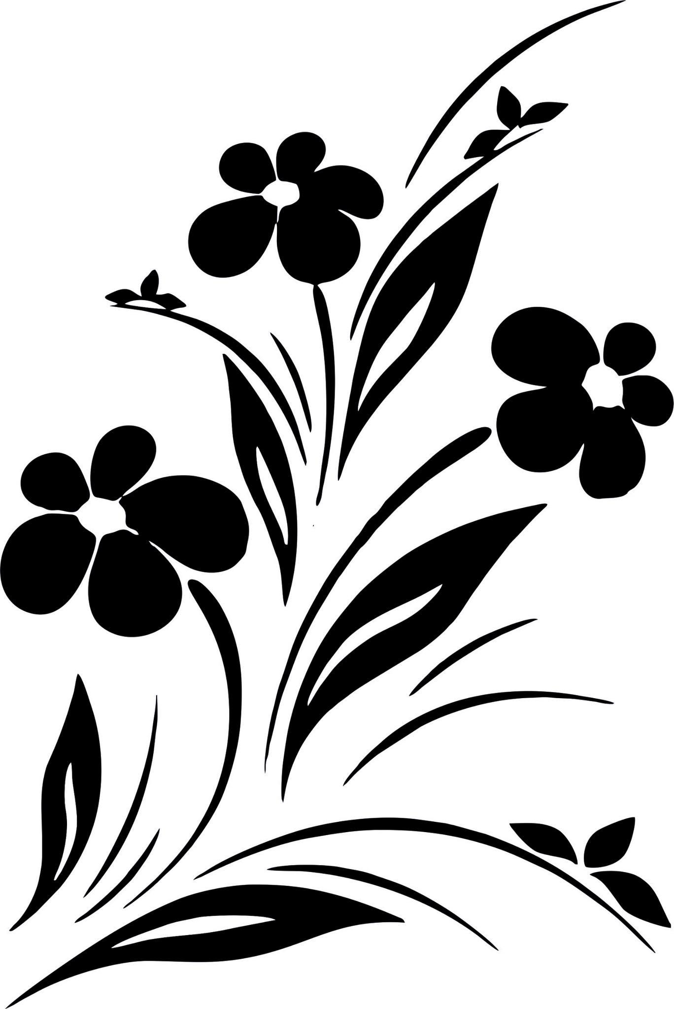Simple Flower Designs Black And White Vector Art jpg Image