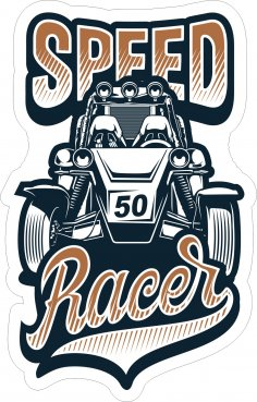 Speed Racer Sticker Free Vector