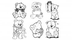 Bears Line Art Vectors CDR File