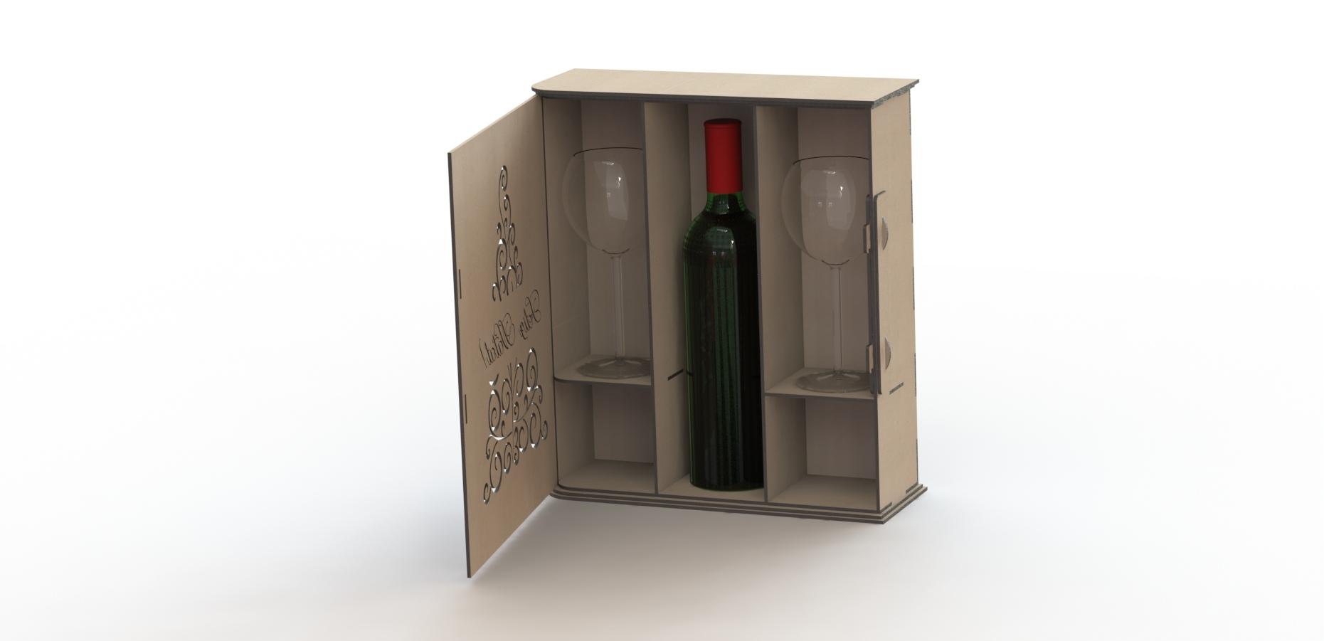 Laser Cut Wine Box Free Vector