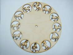 12 Horses Clock Free Vector