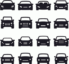 Car Silhouette Front Vectors CDR File