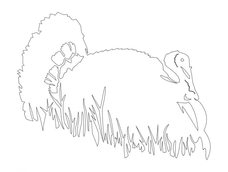 Bird in grass silhouette vector dxf File