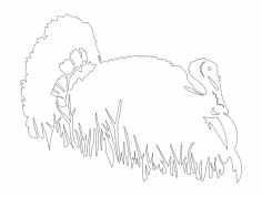 Bird in grass silhouette vector dxf File