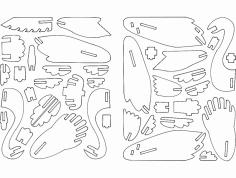 Cisne 3D Puzzle dxf File