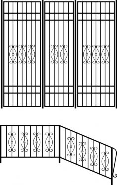 Wrought iron stair railing design vector art Free Vector