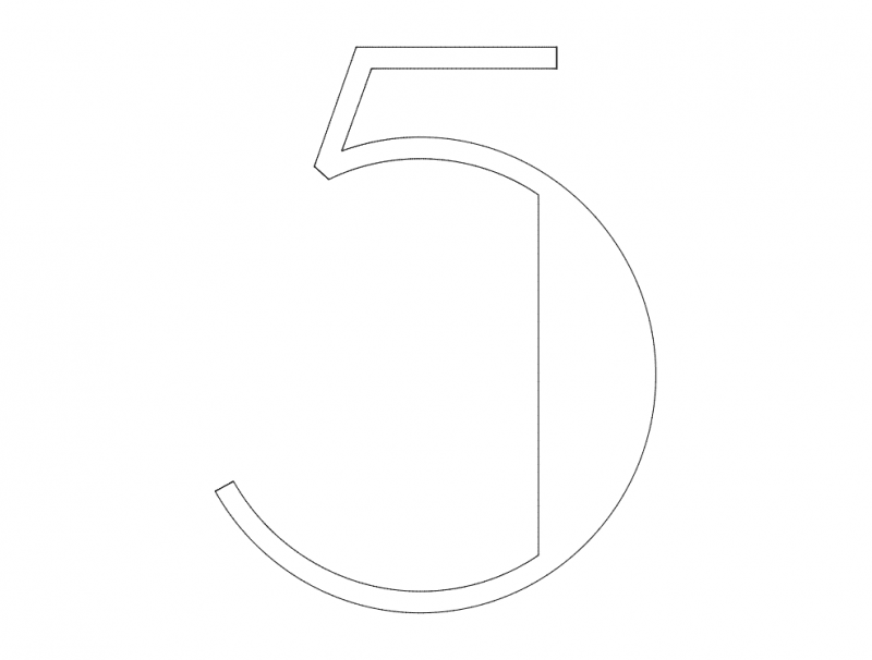 5 Number dxf File