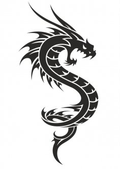 Black And White Dragon Tattoo Vector Free Vector