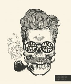 Black Is Not Sad Hipster skull silhouette Vector Free Vector